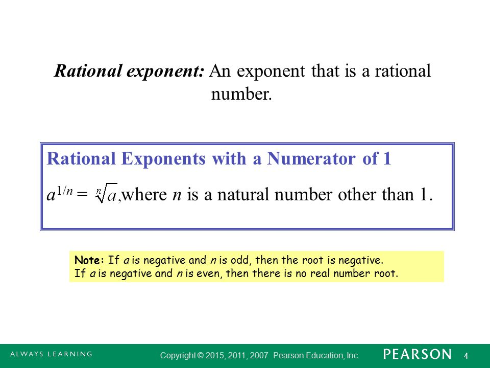 Rational exponent: An exponent that is a rational number.