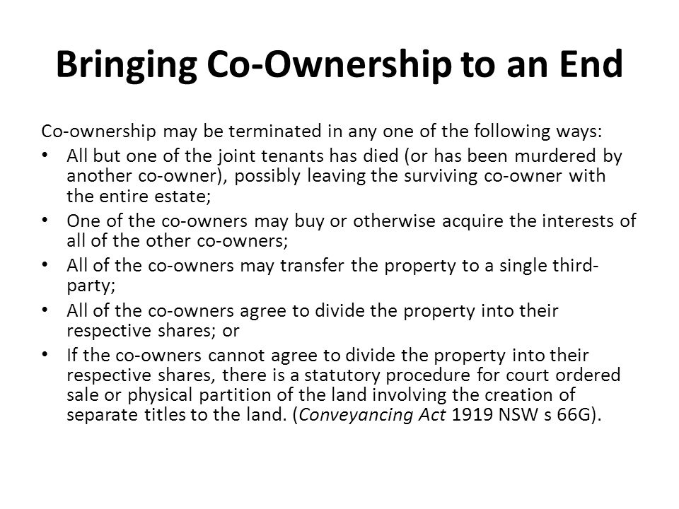 Severance and ending co ownership ppt download bringing co ownership to an end platinumwayz