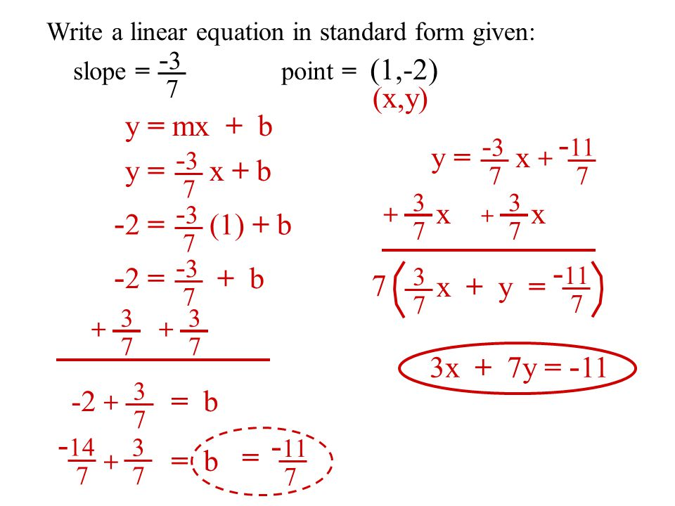 write equation in standard form Algebra i recipe: standard form of a linear equation  b how to write the  equation into standard form when given an equation if there are fractions.