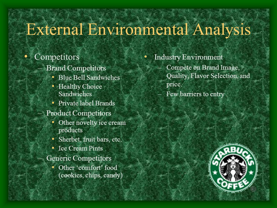 internal environment of starbucks Starbucks faces many of the environmental threats that create alarming pomp ups to the company few of the major threats starbucks need to cater with are starbuck produces only coffee which cannot be helpful for the company's survival in the long run.