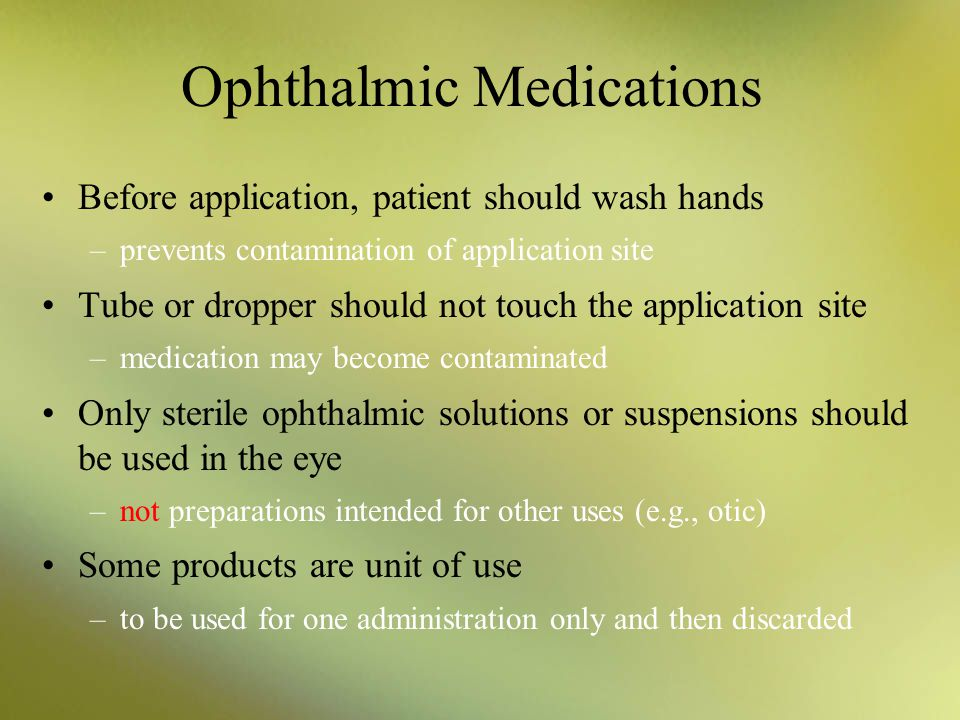 Ophthalmic Medications