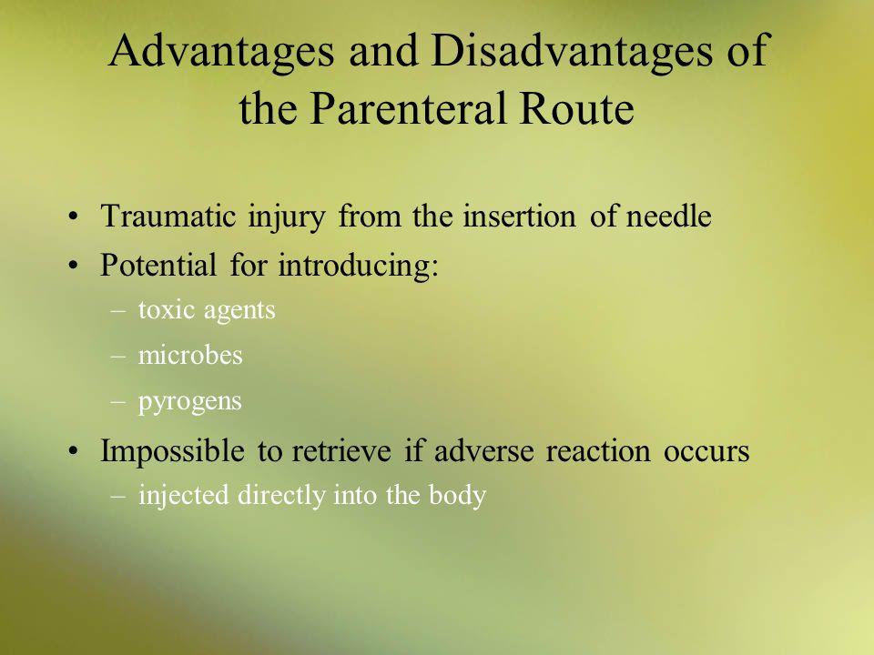 Advantages and Disadvantages of the Parenteral Route