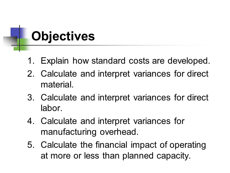 Objectives Explain how standard costs are developed.