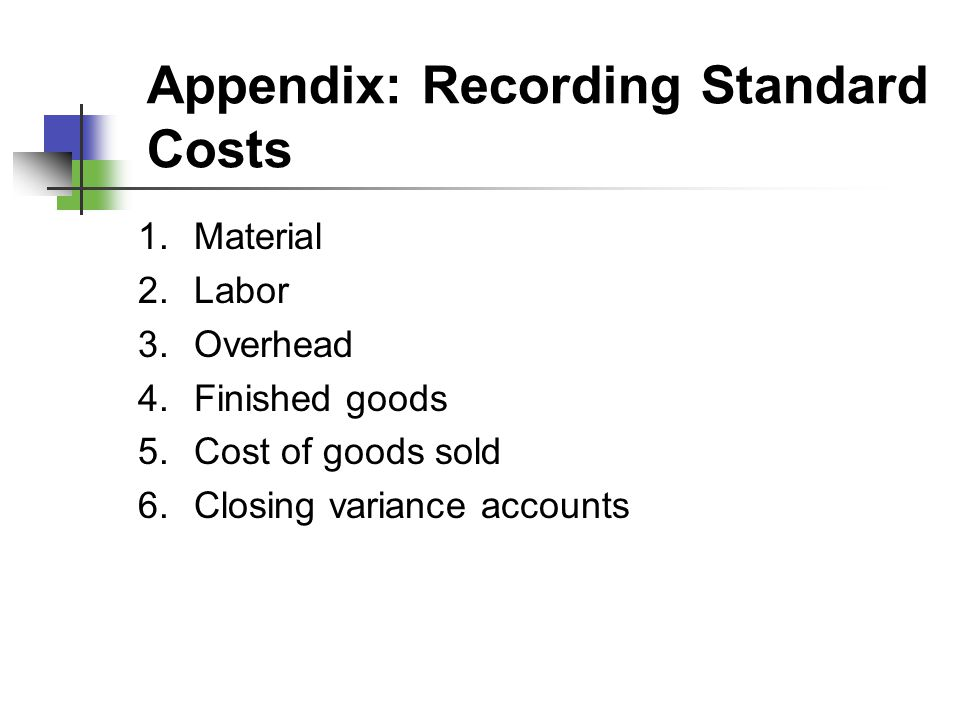 Appendix: Recording Standard Costs