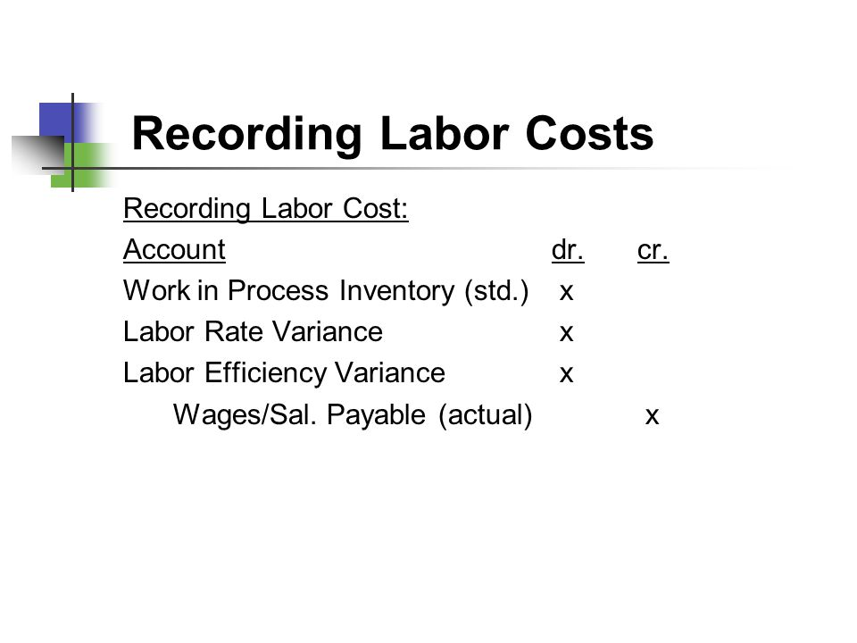 Recording Labor Costs Recording Labor Cost: Account dr. cr.