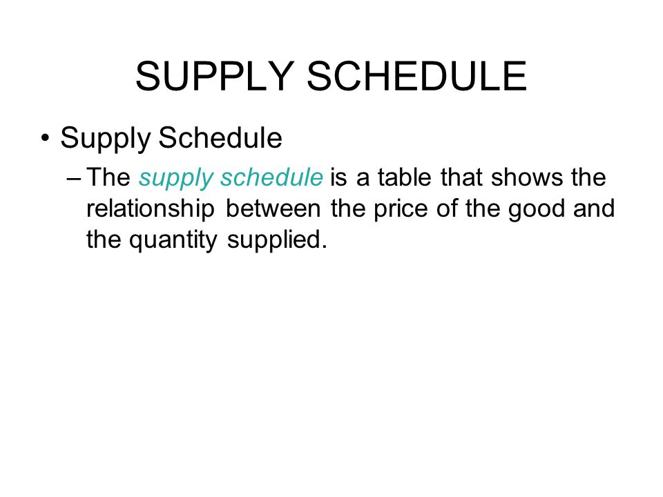 shows the relationship between price and quantity supplied