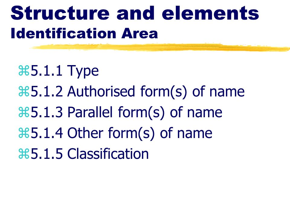 Structure and elements Identification Area