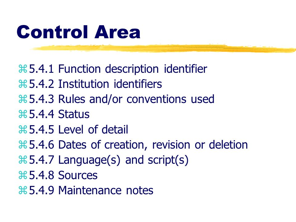 Control Area Function description identifier