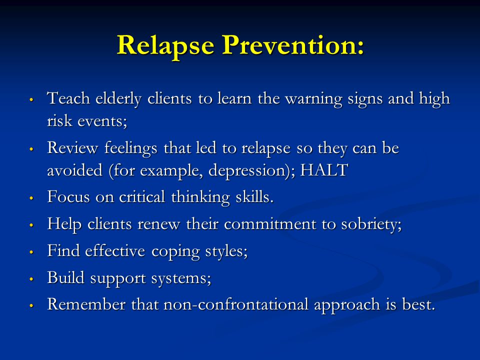 relapse prevention in addiction