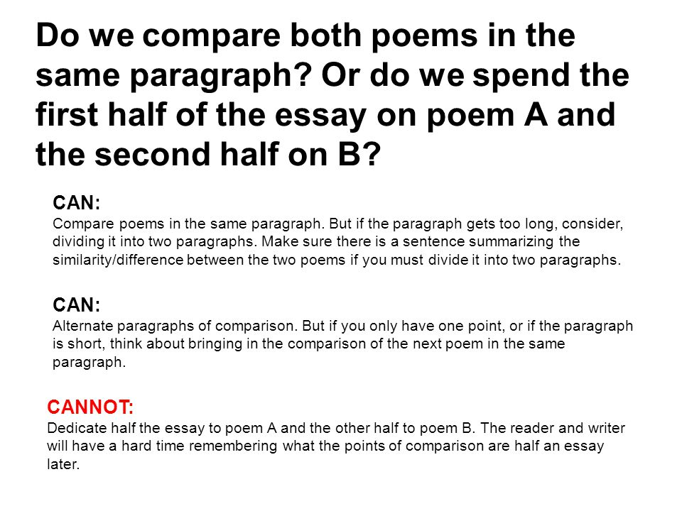 writing a poetry comparison essay For example, writing an essay on poetry requires understanding of main types of  poems,  thus, if you need to write a comparison essay, put enough effort into.
