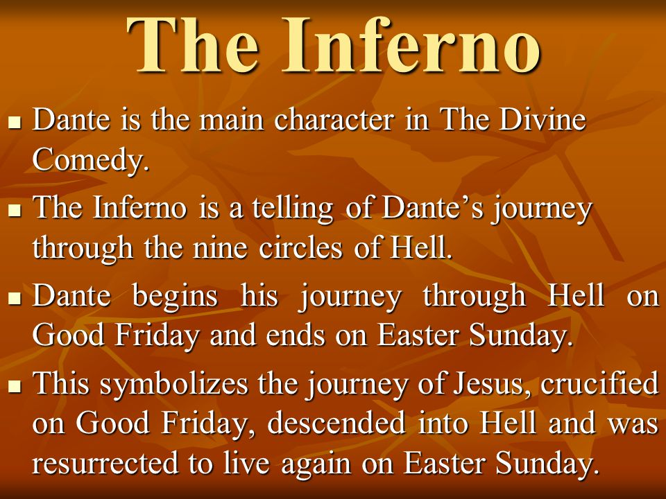 the symbolism of journey of dante through hell The inferno is an account of dante's own journey, guided by the ancient roman poet virgil, through the nine levels of hell during this what does this imply regarding dante's symbolism of hell and damnation.