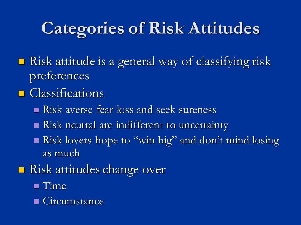 attitude toward risk and the risk Attitudes toward risk among peasants in puebla mexico, are derived from survey data in a model of safety-first behavior the measurements of behavior toward risk obtained are then explained by a.