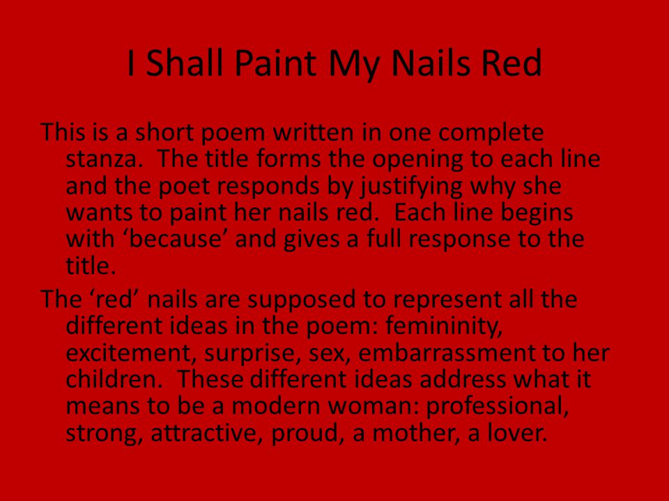 I Shall Paint My Nails Red