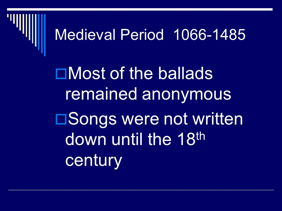Most of the ballads remained anonymous