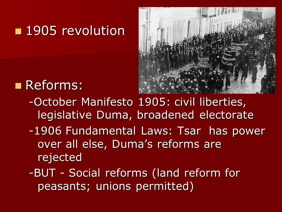 october manifesto The october manifesto plunged russian political associations from underground  activity into open parliamentary politics radical left-wing.