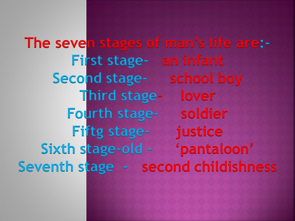 The seven stages of man's life are:- First stage- an infant