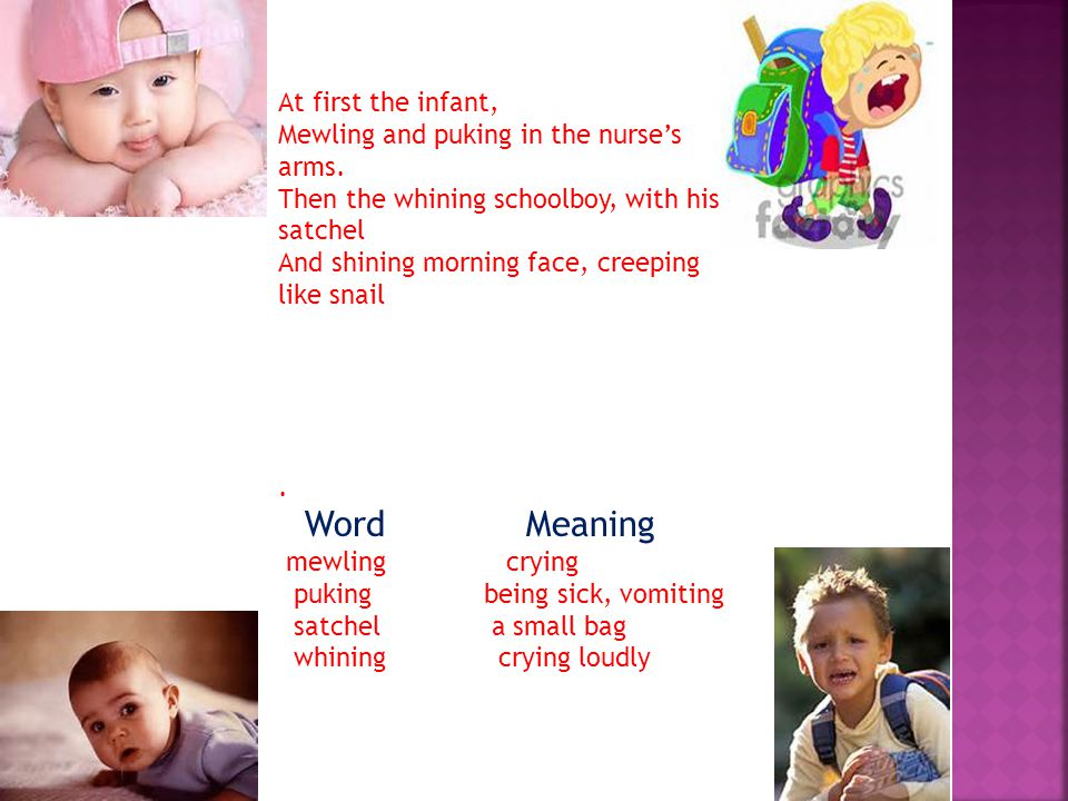 Word Meaning At first the infant,