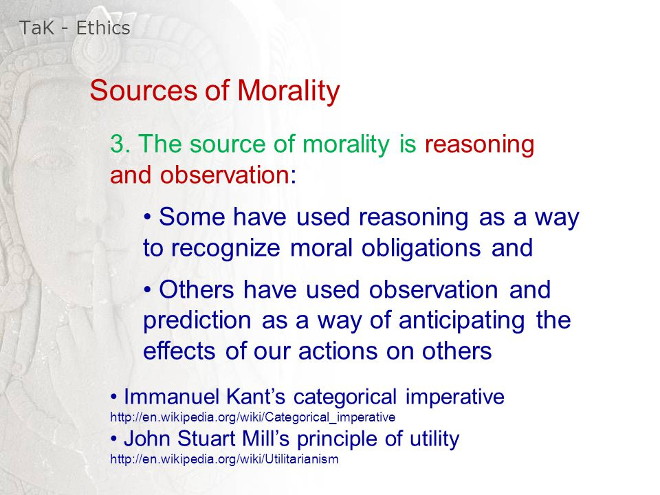 a moral code according to immanuel kant and john stuart mill By spending some time examining such codes, students will appreciate that there  are many  followed the (unconditional) categorical imperative act only  according to that maxim whereby you can at  23 how utilitarian and kantian  ethics connect with statistics  its founders were jeremy bentham and john  stuart mill.
