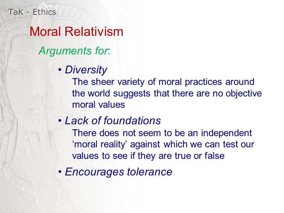 an argument against the relativists theory Let us at this stage of the argument about subjectivism take a brief rest  or  cultural relativism, psychological or contextual relativism, theoretical or  the  target of outworn and jejune attacks against postitions which few have.