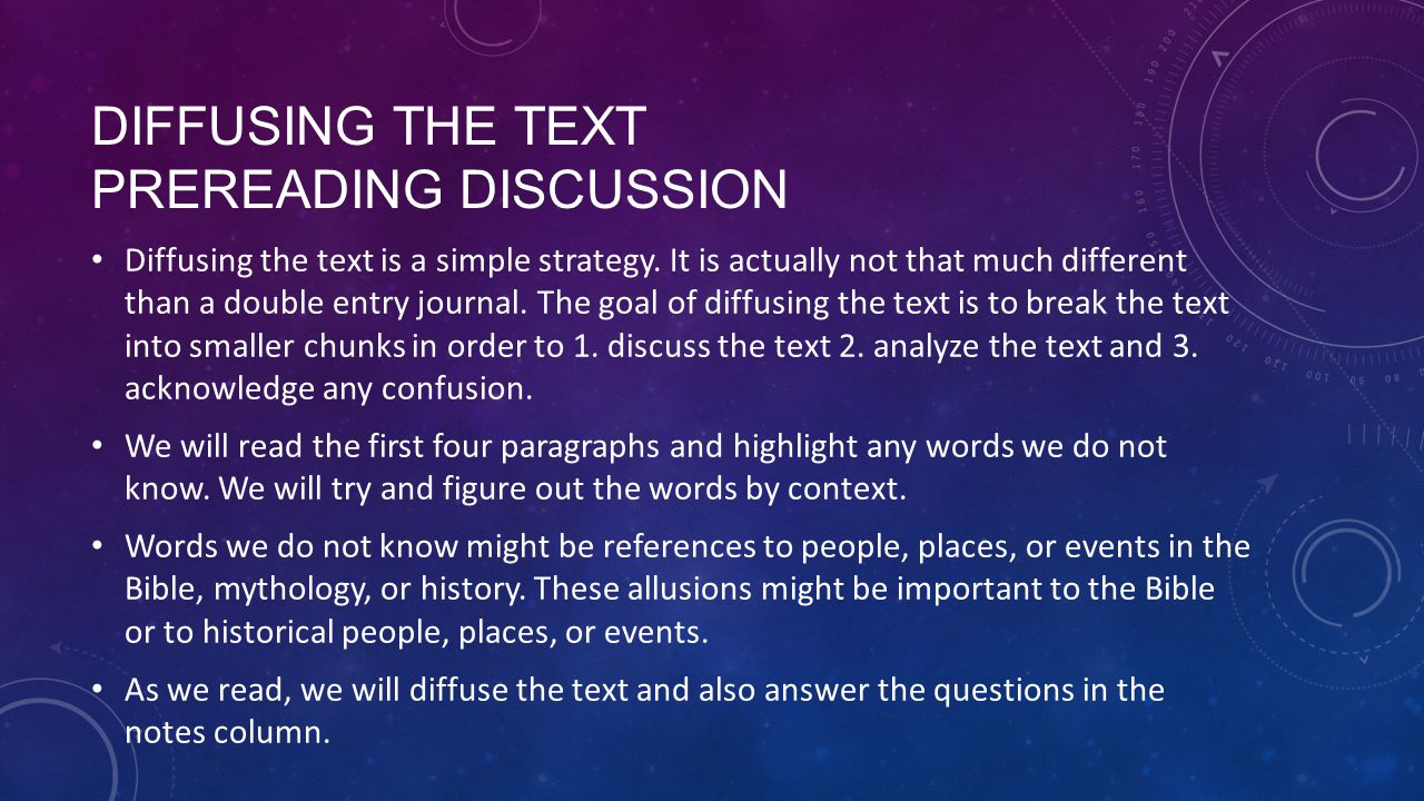 Diffusing the Text PreReading Discussion