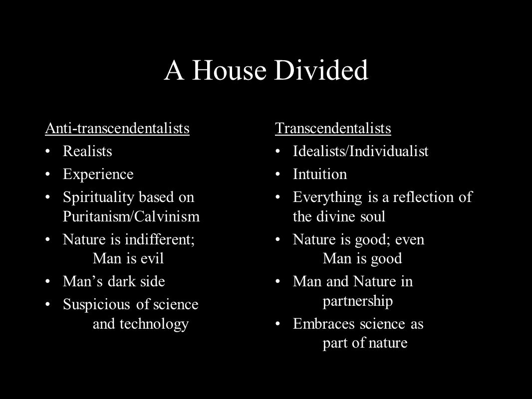 A House Divided Anti-transcendentalists Realists Experience