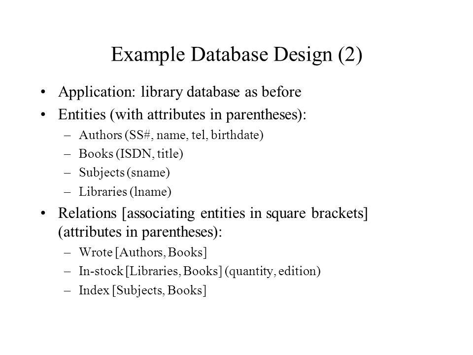 example database design 2 - Library Database Design
