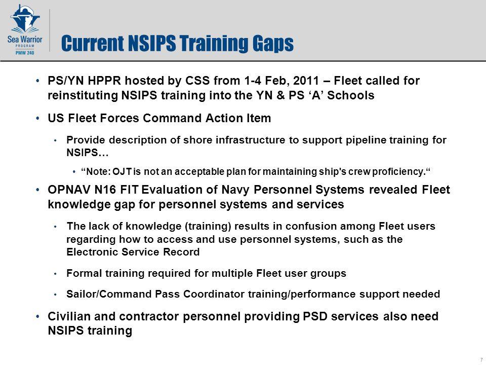 Current Nsips Training Gaps