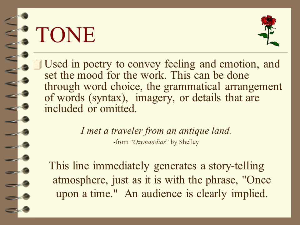 Diction, Syntax, Imagery and Tone