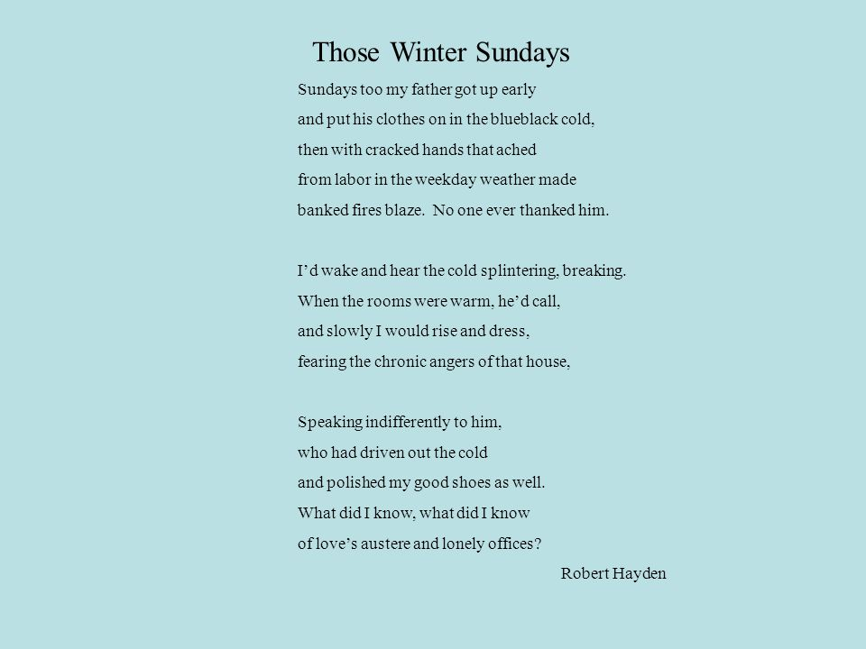 father son relationship those winter sundays The poem those winter sundays, by robert hayden conveys the emotional feelings between a son that does not show gratitude towards a hard working father however, as the son matures, he begins to understand his father's intentions and regrets how he often took his father for granted in the first stanza, line 1, hayden.