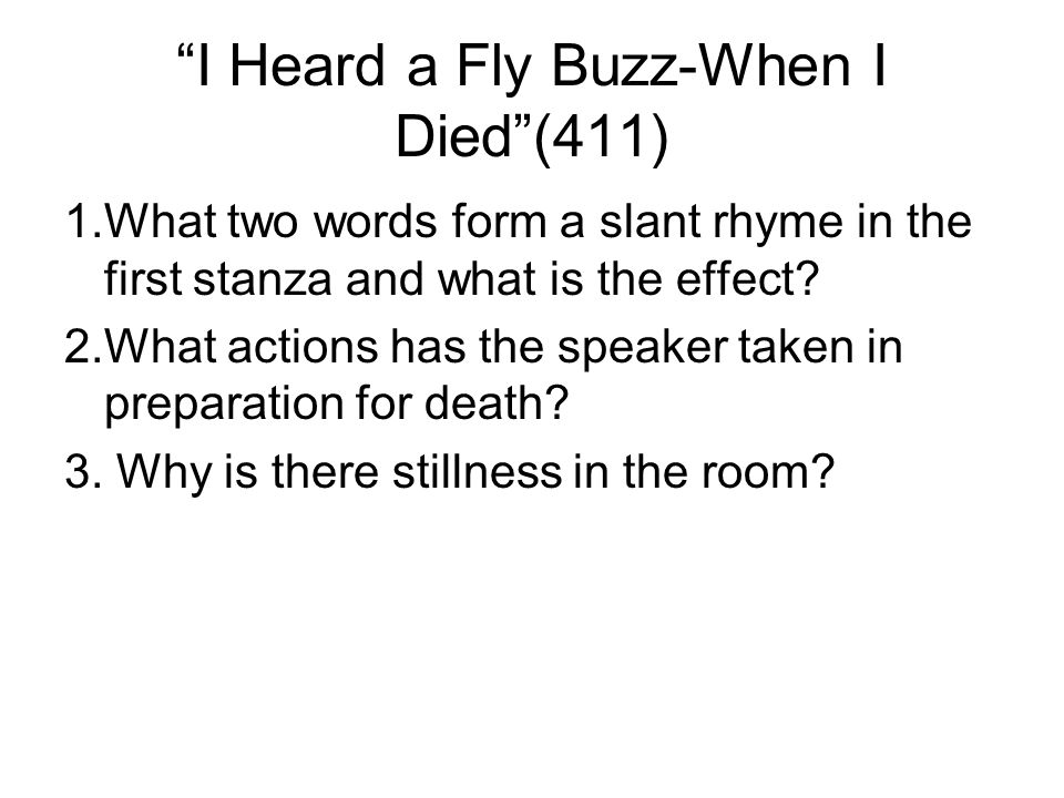 I Heard a Fly Buzz-When I Died (411)