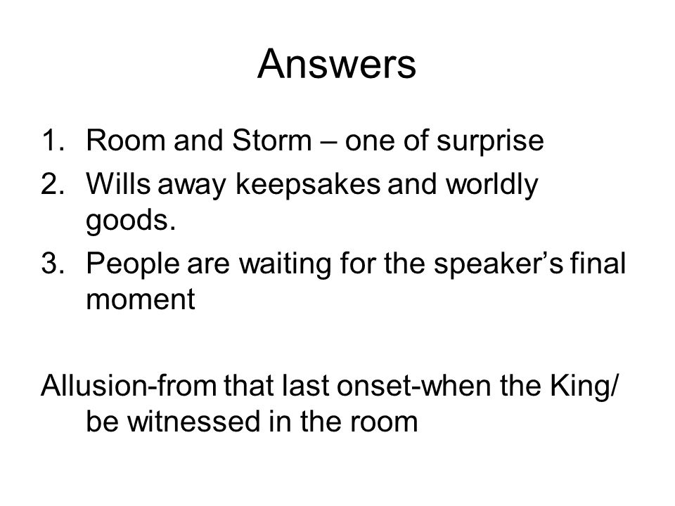 Answers Room and Storm – one of surprise