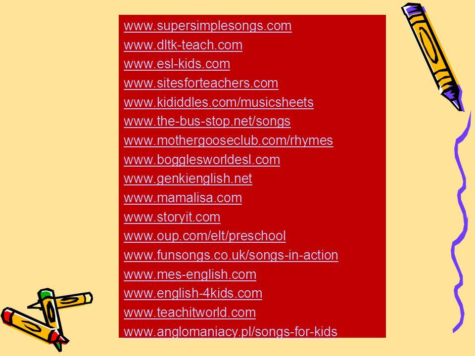 wwwsupersimplesongscom wwwdltk teachcom wwwesl