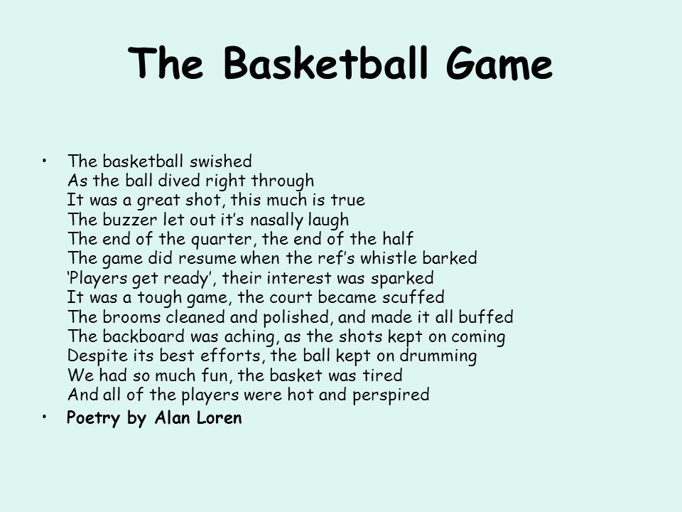 How to write a sonnet about basketball court