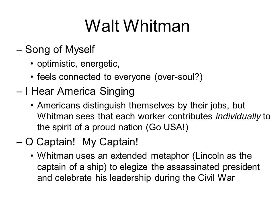 essays on i hear america singing Free essay: i hear america singing summary in the poem i hear america singing by walt whitman, the reader envisions a country of people working home page free essays.