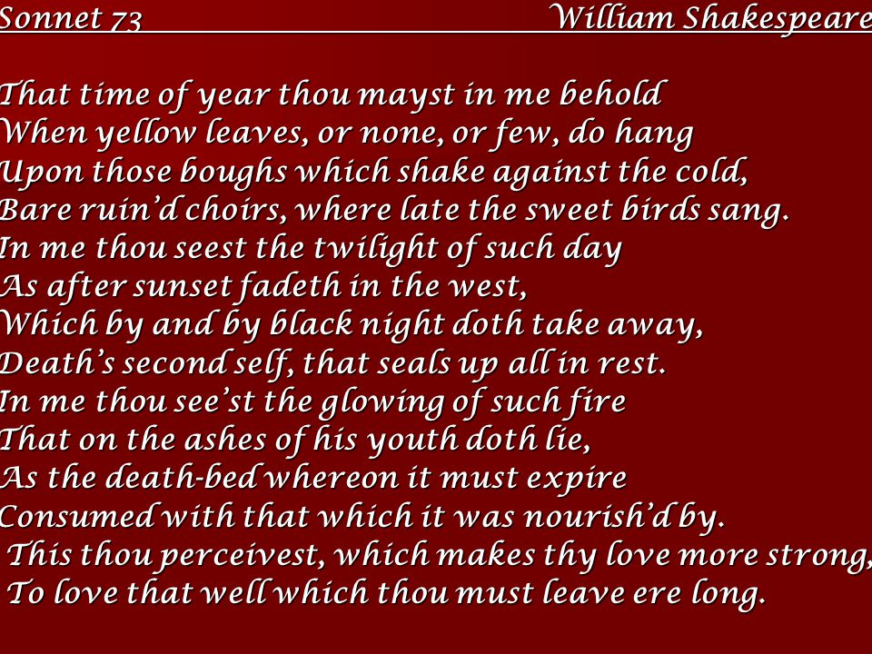 Sonnet 73 William Shakespeare