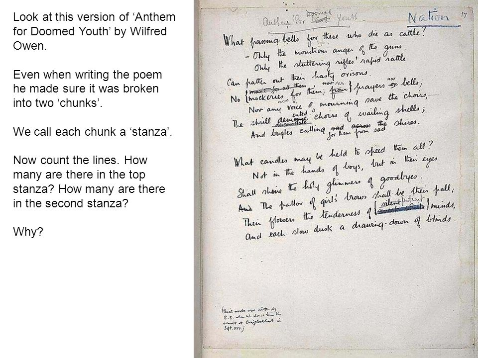 figurative language in the poem anthem for doomed youth Language in anthem for doomed youthfunereal associationsdiction and  of the poem is set from the moment in the title when owen uses the word anthem to .