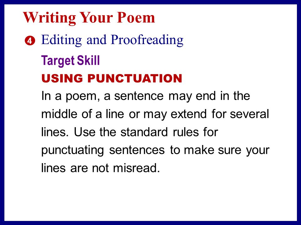 Writing Your Poem Editing and Proofreading Target Skill