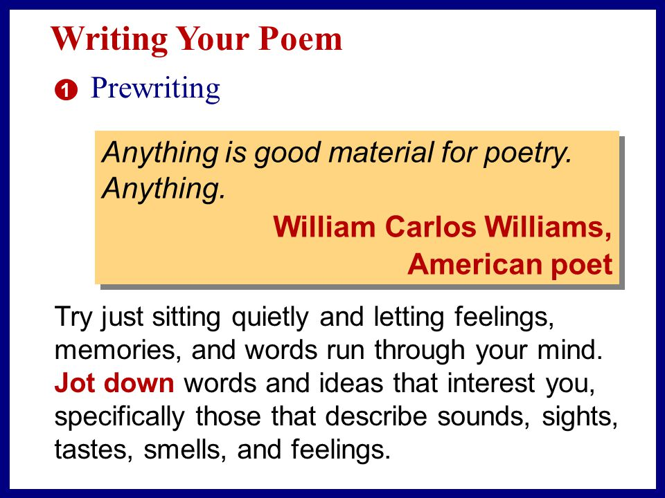 Writing Your Poem Prewriting