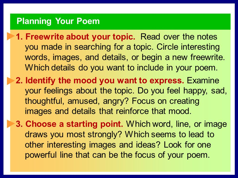 Planning Your Poem