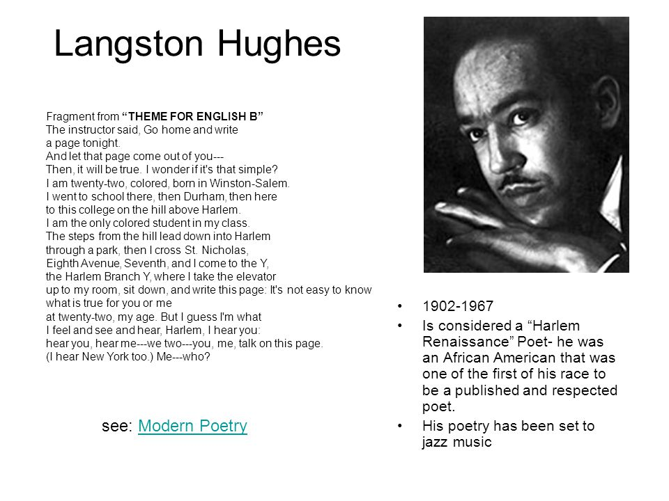 control imagery in langston hughess poem theme for english b Theme for english b langston hughes a late poem in hughes's career theme for english b 96 yet do i marvel.
