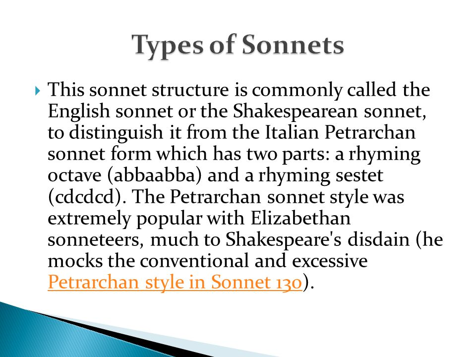 Italian Sonnet First 8 lines - ppt video online download