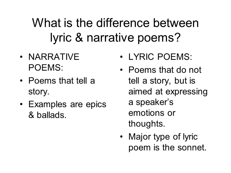 What is the difference between lyric & narrative poems