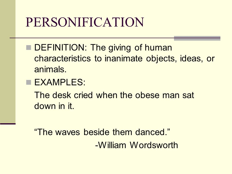personification definition and examples pdf