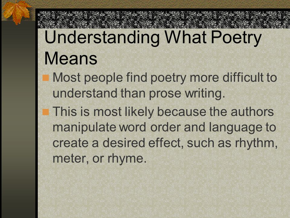 Understanding What Poetry Means