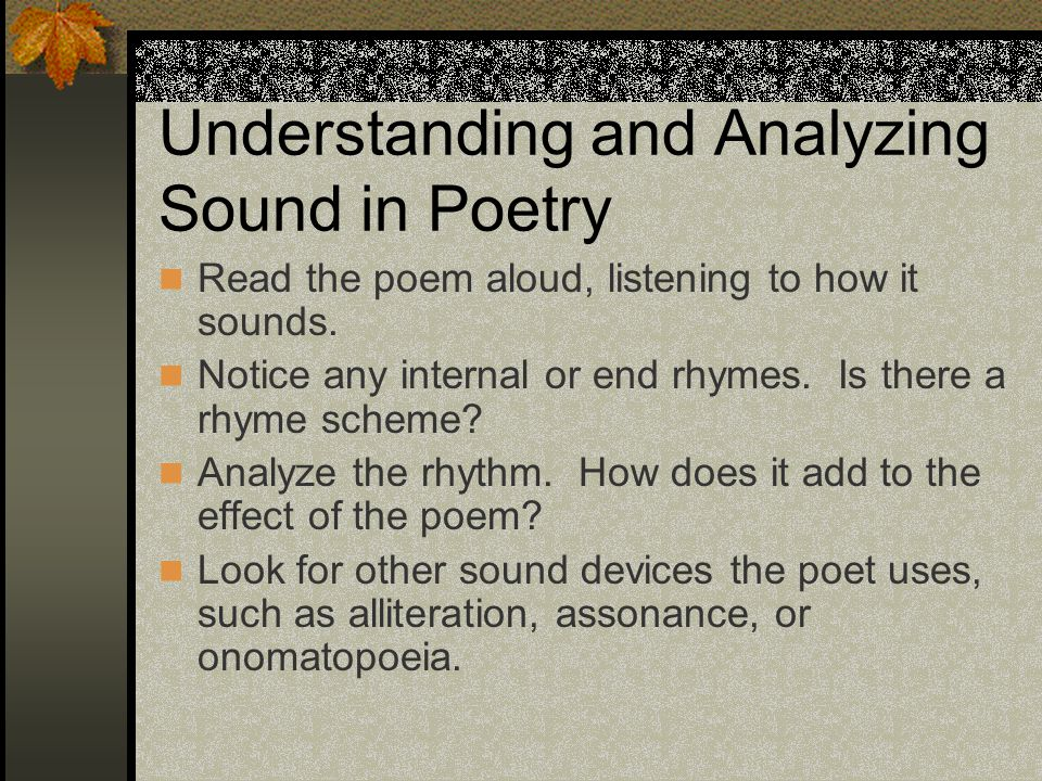 Understanding and Analyzing Sound in Poetry