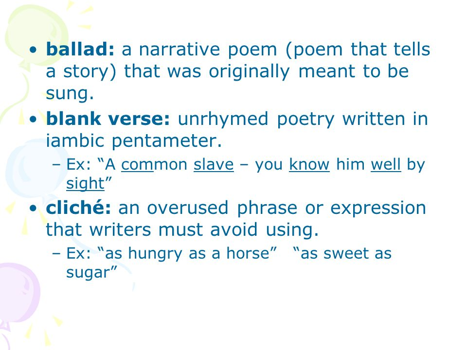 Common poetry terms