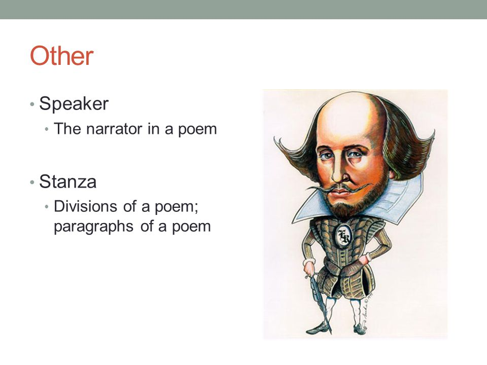 Other Speaker Stanza The narrator in a poem