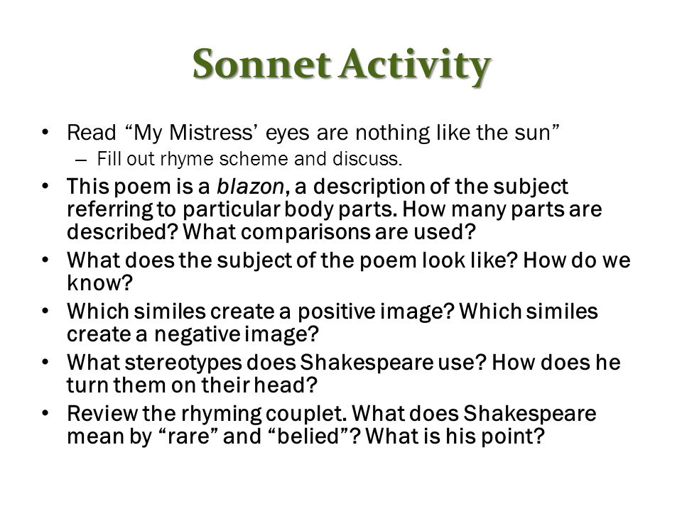 an analysis of my mistress eyes are nothing like the sun My mistress' eyes are nothing like the sun (sonnet 130) - my mistress' eyes are nothing like the sun my mistress' eyes are nothing like the sun.
