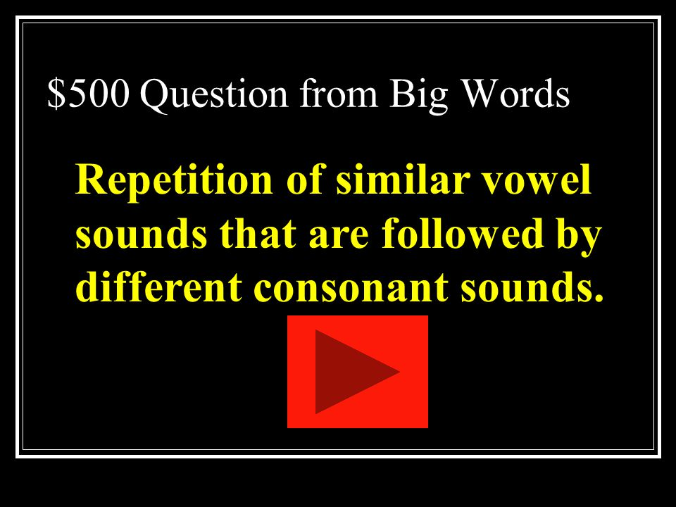 $500 Question from Big Words