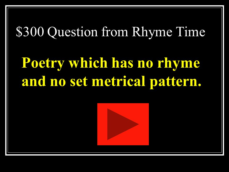 $300 Question from Rhyme Time